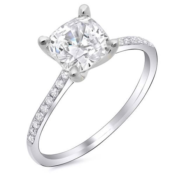 Natural 1.42 CTW Cushion Cut Diamond Dainty Solitaire Engagement Ring 14KT White Gold