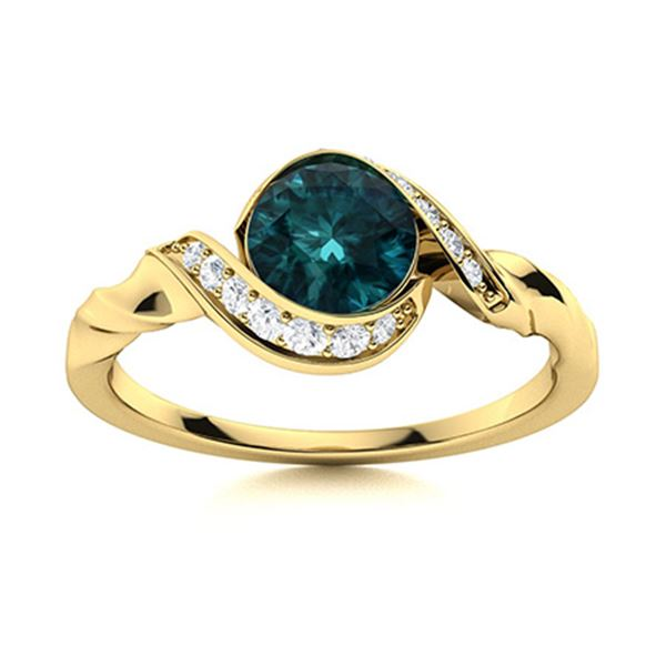 Natural 0.59 CTW Blue & White Diamond Engagement Ring 14K Yellow Gold