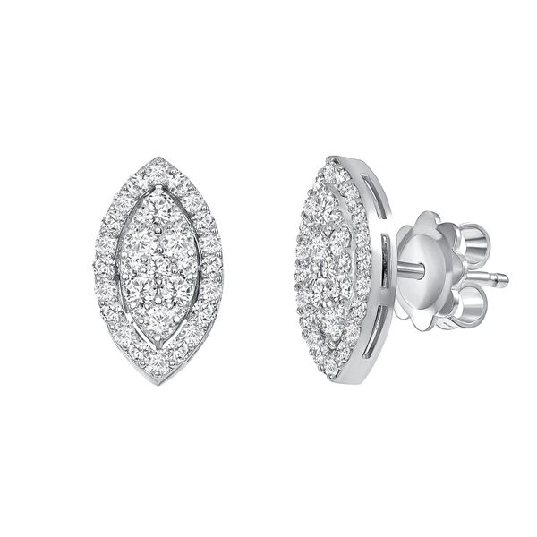 Natural 0.82 CTW Marquise Pave Diamond Earrings 14KT White Gold