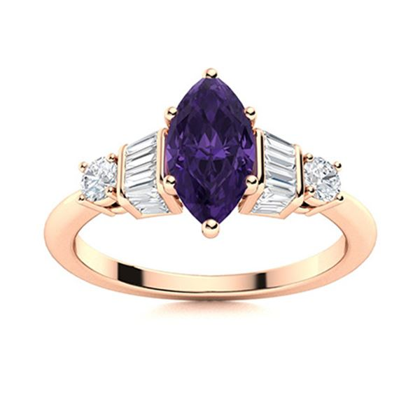 Natural 1.24 CTW Amethyst & Diamond Engagement Ring 18K Rose Gold