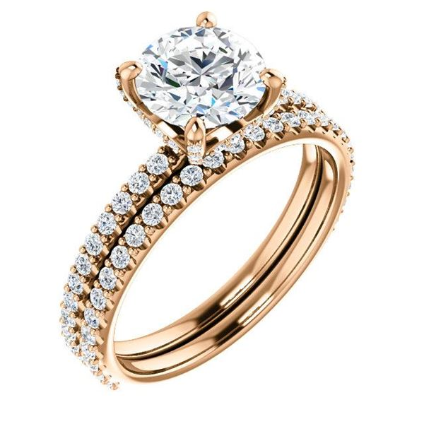 Natural 3.12 CTW Round Cut Hidden Halo Diamond Engagement Ring 14KT Rose Gold