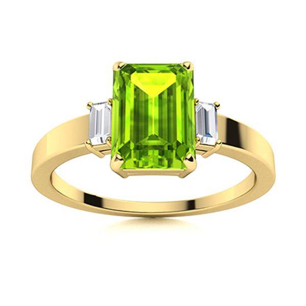 Natural 1.71 CTW Peridot & Diamond Engagement Ring 14K Yellow Gold