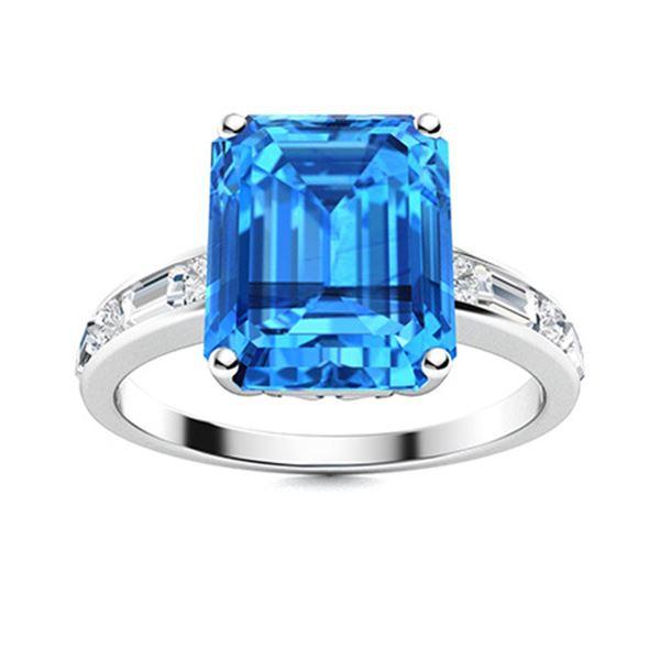 Natural 10.72 CTW Topaz & Diamond Engagement Ring 14K White Gold