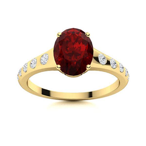 Natural 1.40 CTW Garnet & Diamond Engagement Ring 14K Yellow Gold