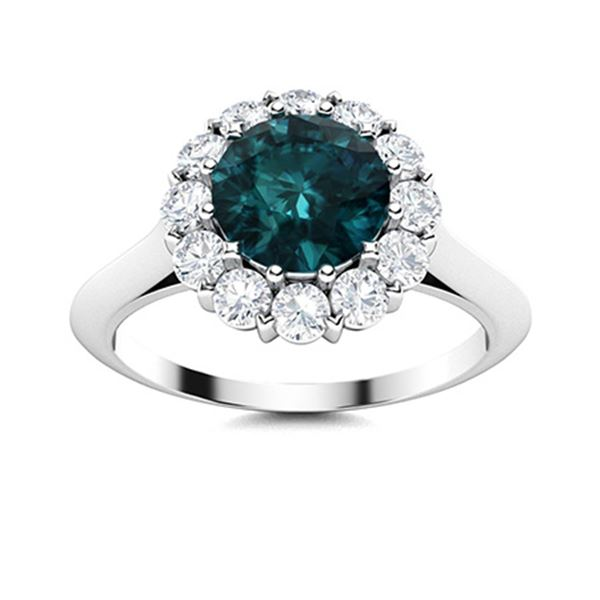 Natural 1.43 CTW Blue & White Diamond Engagement Ring 14K White Gold