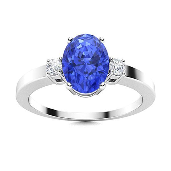 Natural 2.95 CTW Ceylon Sapphire & Diamond Engagement Ring 18K White Gold