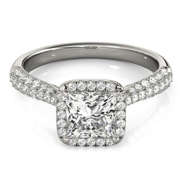 Natural 1.15 ctw Princess Diamond Halo Ring 14k White Gold