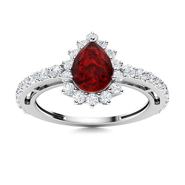 Natural 1.64 CTW Garnet & Diamond Engagement Ring 14K White Gold