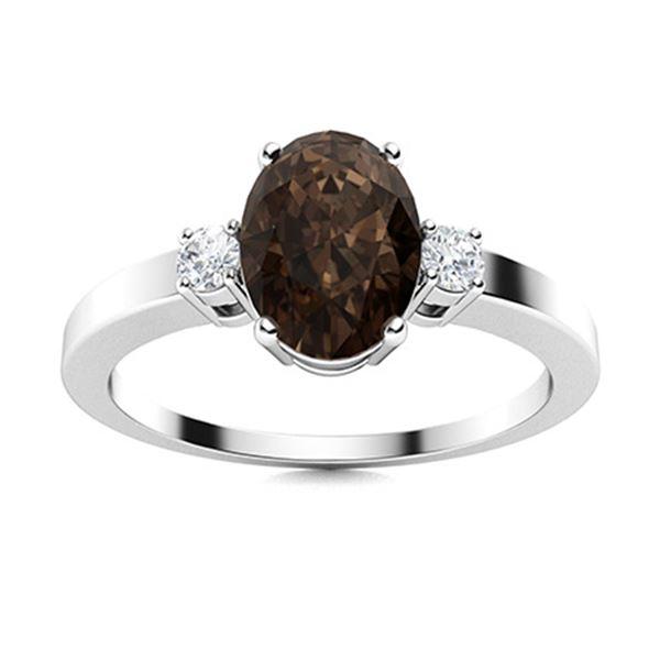 Natural 3.25 CTW Smoky Quartz & Diamond Engagement Ring 14K White Gold