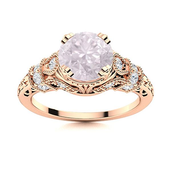 Natural 1.55 CTW Rose Quartz & Diamond Engagement Ring 14K Rose Gold