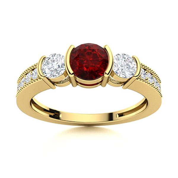 Natural 0.82 CTW Garnet & Diamond Engagement Ring 18K Yellow Gold