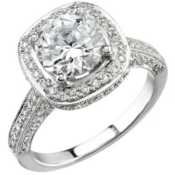 Natural 4.02 CTW Square Halo Round Cut Diamond Engagement Ring 14KT White Gold