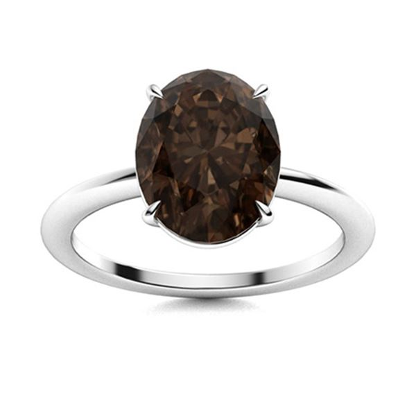 Natural 4.06 CTW Smoky Quartz Solitaire Ring 14K White Gold