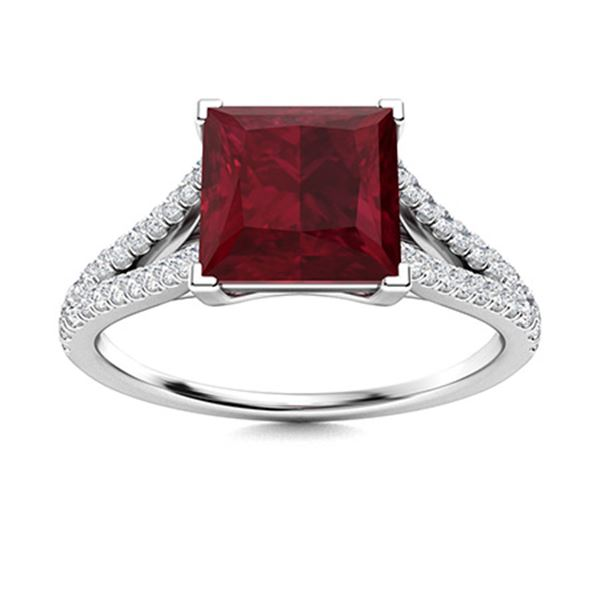 Natural 1.80 CTW Ruby & Diamond Engagement Ring 14K White Gold