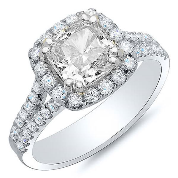 Natural 2.64 CTW Halo Cushion Cut U-Setting Split Shank Diamond Engagement Ring 14KT White Gold
