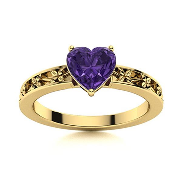 Natural 0.65 CTW Amethyst Solitaire Ring 14K Yellow Gold