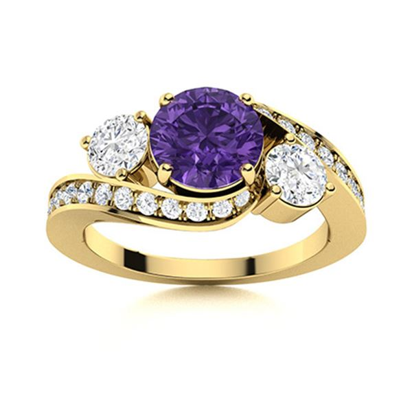 Natural 1.41 CTW Amethyst & Diamond Engagement Ring 14K Yellow Gold