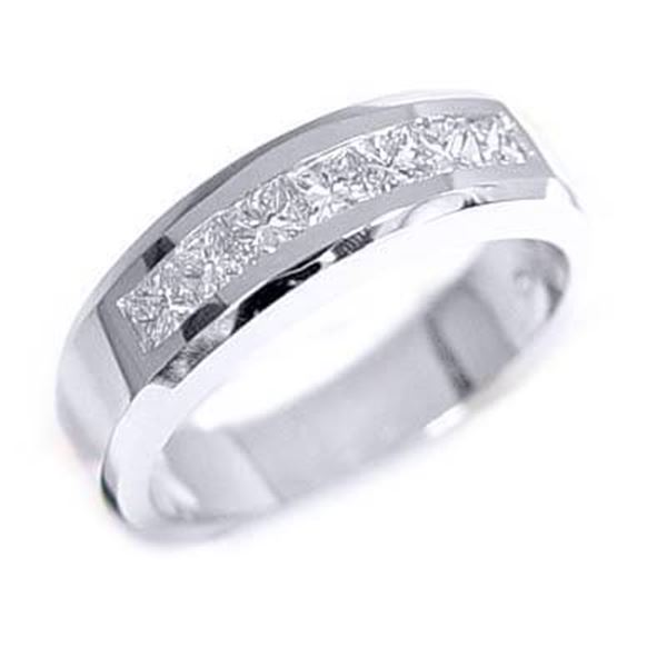 Natural 1.42 CTW Princess Cut Diamond Wedding Ring 18KT White Gold