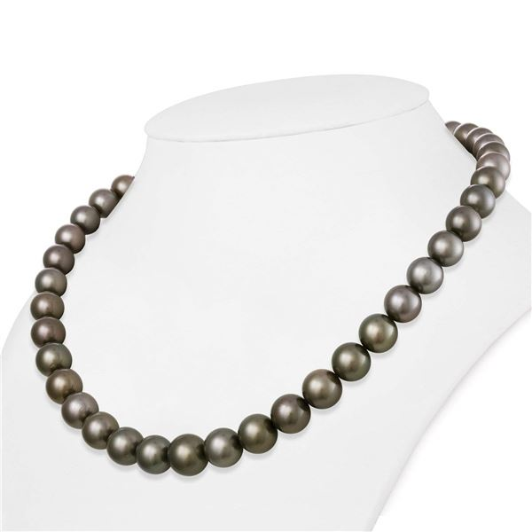 "Medium Silver True Round Tahitian Pearl Necklace, 18""es, 9.1-11.7mm, AAA Quality"