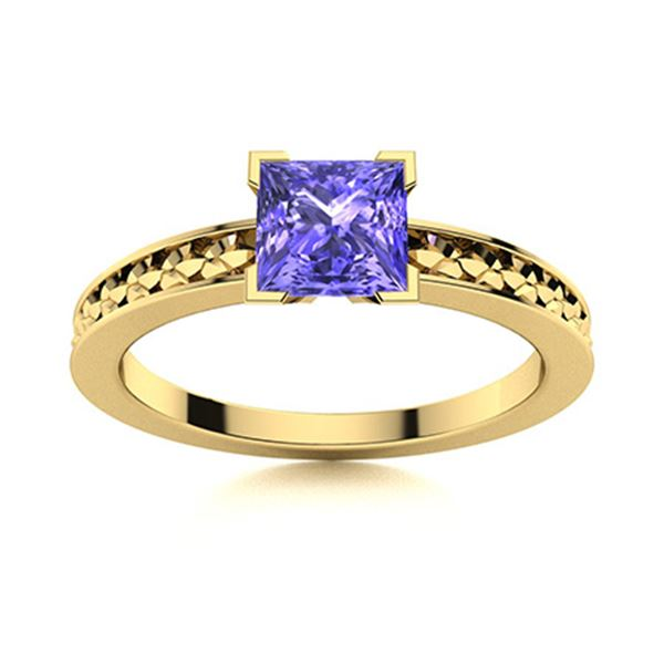 Natural 1.03 CTW Tanzanite Solitaire Ring 18K Yellow Gold
