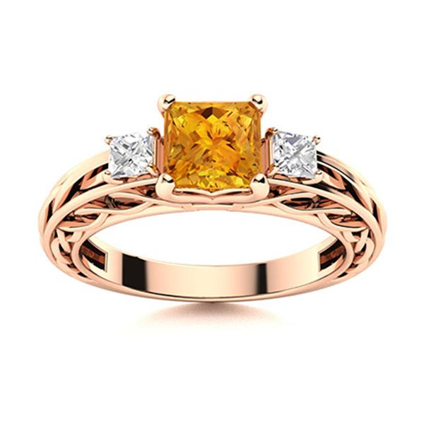 Natural 0.91 CTW Citrine & Diamond Engagement Ring 18K Rose Gold