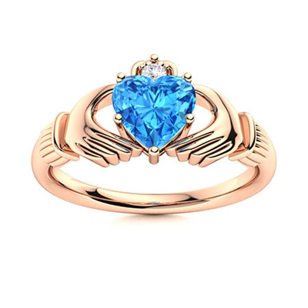 Natural 1.58 CTW Topaz & Diamond  Engagement Ring 14K Rose Gold