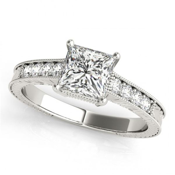 Natural 1.5 ctw Princess Diamond Antique Ring 14k White Gold