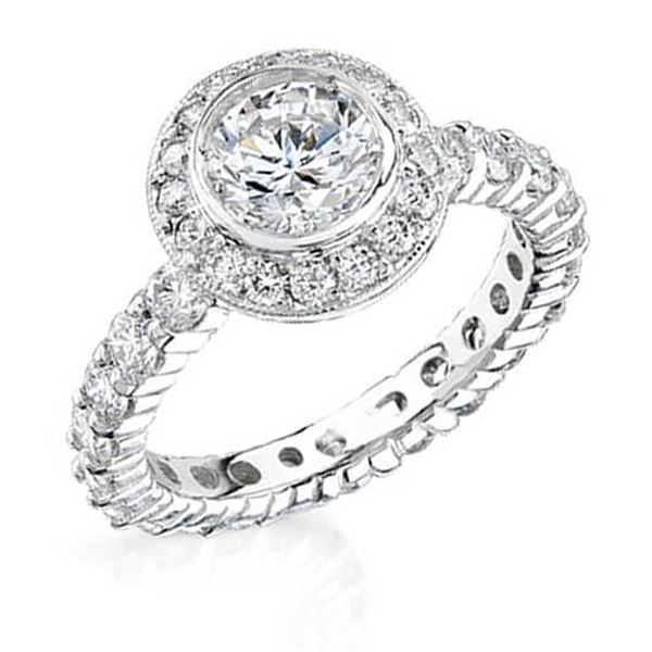 Natural 3.2 CTW Round Cut Diamond Engagement Ring 14KT White Gold