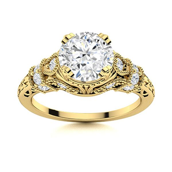 Natural 1.36 CTW White Sapphire & Diamond Engagement Ring 14K Yellow Gold