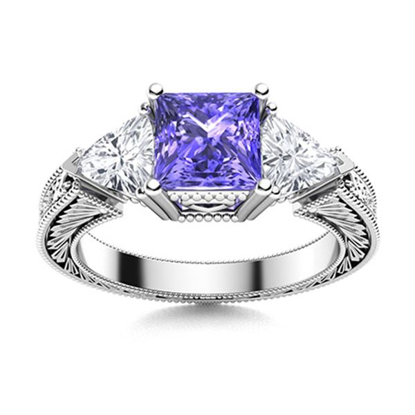 Natural 2.02 CTW Tanzanite & Diamond Engagement Ring 14K White Gold