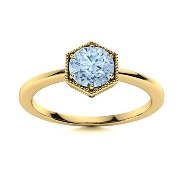 Natural 0.41 CTW Aquamarine Solitaire Ring 14K Yellow Gold