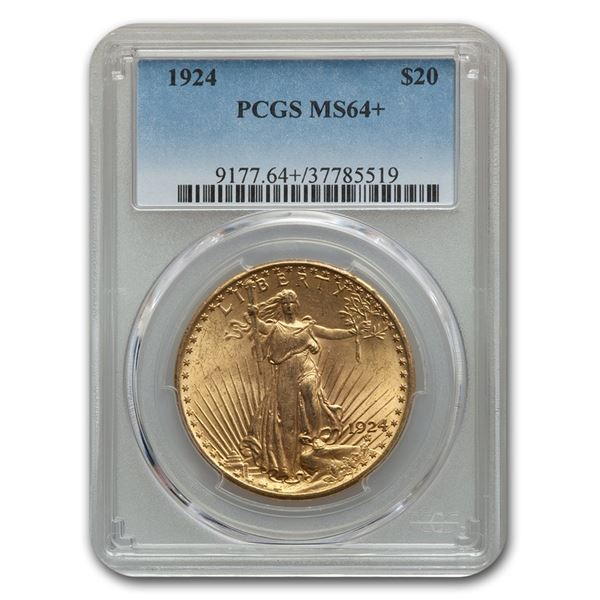 1924 $20 Saint-Gaudens Gold Double Eagle MS-64+ PCGS