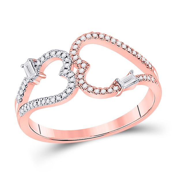 14kt Rose Gold Womens Round Diamond Double Heart Ring 1/5 Cttw