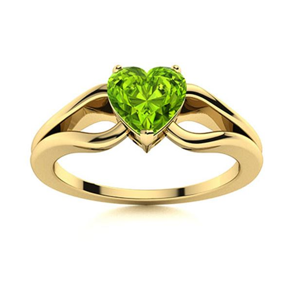Natural 1.51 CTW Peridot Solitaire Ring 18K Yellow Gold