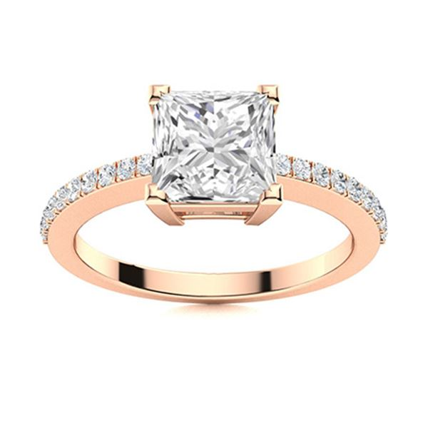 Natural 1.44 CTW Diamond Solitaire Ring 18K Rose Gold