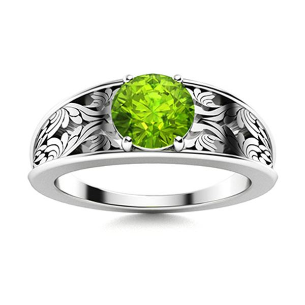 Natural 0.72 CTW Peridot Solitaire Ring 18K White Gold