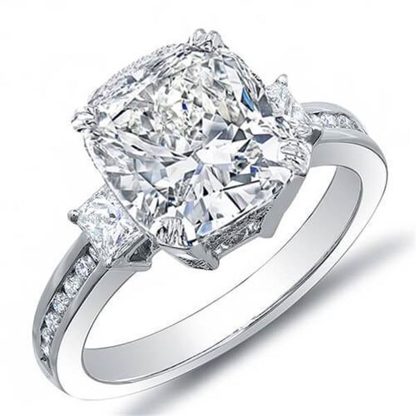 Natural 4.28 CTW Cushion Cut w/ Princess & Round Cut Diamond Engagement Ring 14KT White Gold