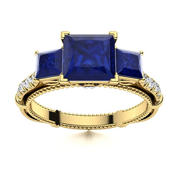 Natural 1.24 CTW Sapphire & Diamond Engagement Ring 14K Yellow Gold