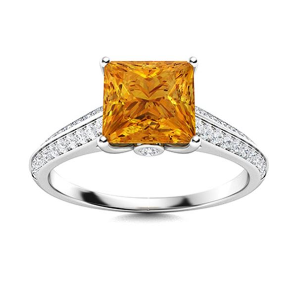 Natural 1.35 CTW Citrine & Diamond Engagement Ring 14K White Gold