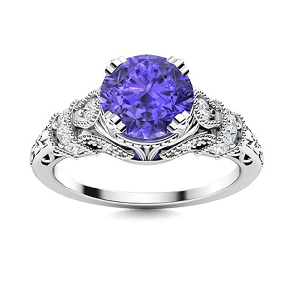Natural 1.39 CTW Tanzanite & Diamond Engagement Ring 14K White Gold