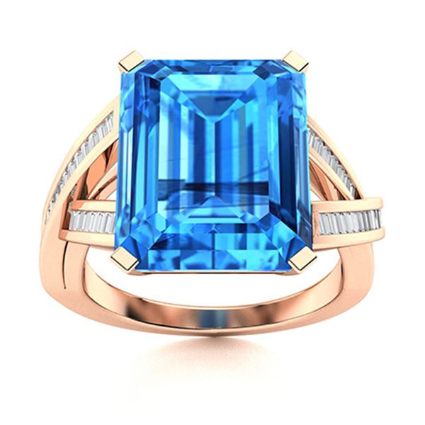 Natural 3.92 CTW Topaz & Diamond Engagement Ring 18K Rose Gold