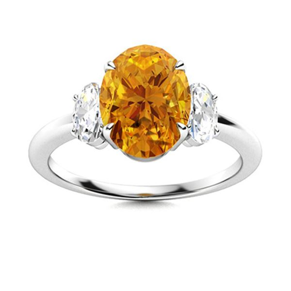 Natural 3.72 CTW Citrine & Diamond Engagement Ring 18K White Gold
