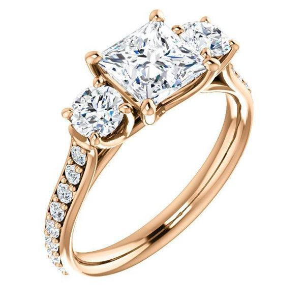 Natural 2.02 CTW 3-Stone princess Cut & Rounds Diamond Ring 18KT Rose Gold