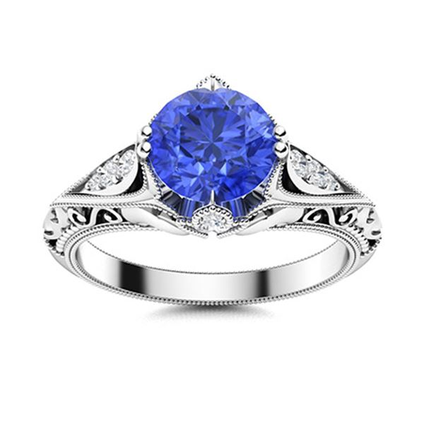 Natural 1.13 CTW Ceylon Sapphire & Diamond Engagement Ring 14K White Gold