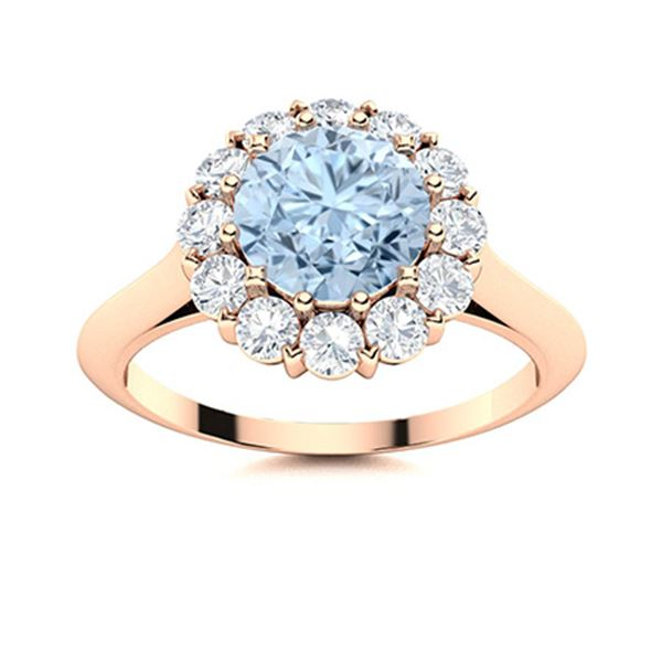 Natural 1.48 CTW Aquamarine & Diamond  Engagement Ring 18K Rose Gold