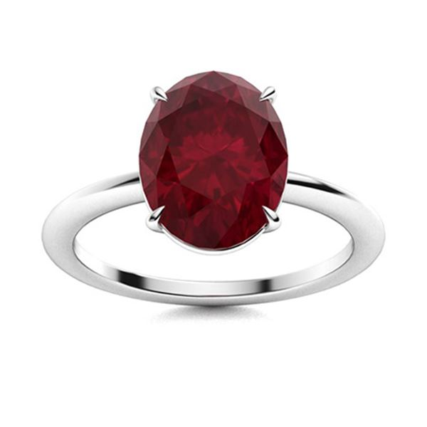 Natural 5.29 CTW Ruby Solitaire Ring 14K White Gold
