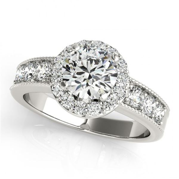 Natural 2.1 ctw Diamond Solitaire Halo Ring 14k White Gold