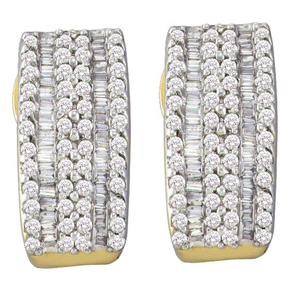 14kt Yellow Gold Womens Round Baguette Diamond Vertical Stripe Hoop Earrings 7/8 Cttw