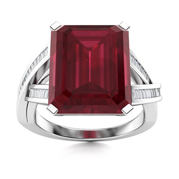 Natural 4.37 CTW Ruby & Diamond Engagement Ring 18K White Gold