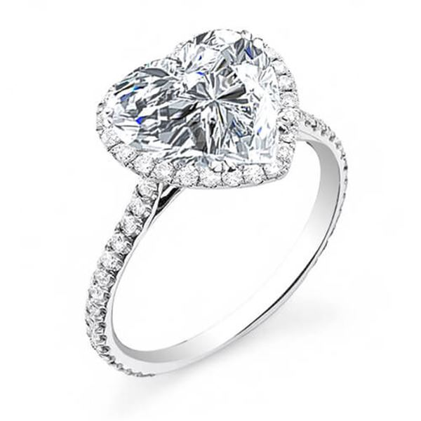 Natural 2.22 CTW Halo Heart Brilliant Cut Forever Diamond Engagement Ring 18KT White Gold